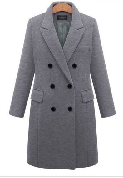 New large size long temperament woolen coat