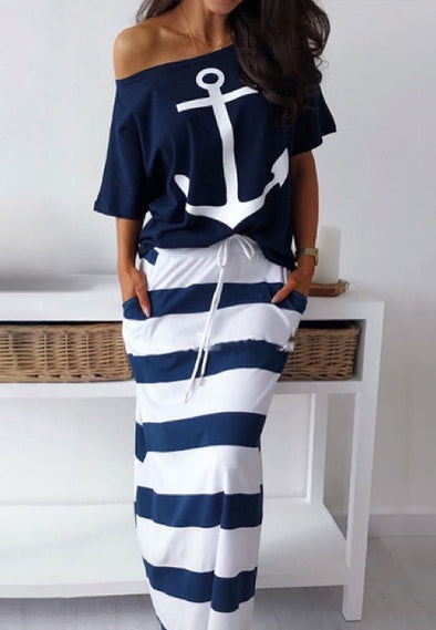 Navy style leisure anchor print short-sleeved T-shirt + skirt suit