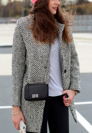 Houndstooth Slim Thick Wool Coat