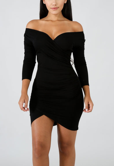 Solid color long sleeve sexy nightclub dress A