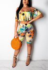 Color printed one-shoulder top casual fashion suit 252