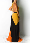 Colorblock hanging neck halter big swing sexy dress 253