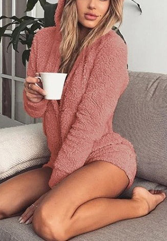 Hooded long sleeved plush jumpsuit