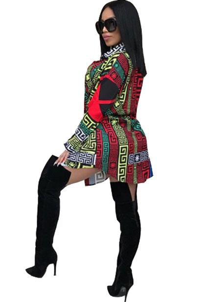 Personalized Positioning Printed Lapels Shirt Skirt