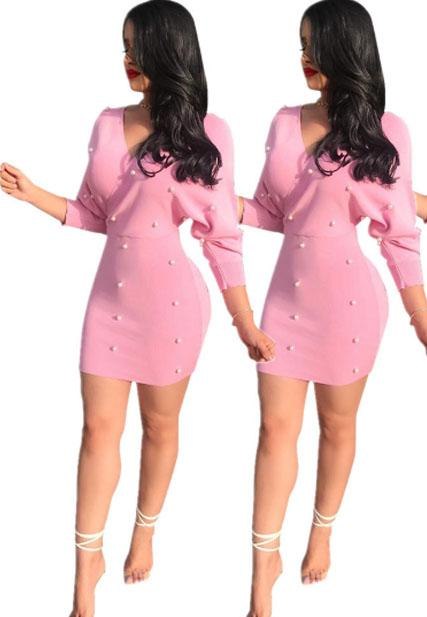 Solid Color Pearl Long Sleeve Dress