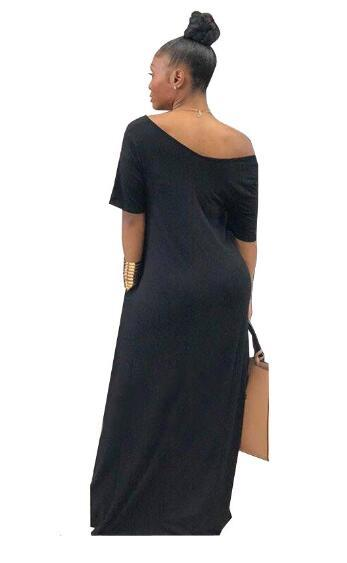 Casual Pockets Design Floor Length Dress