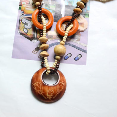 Exotic Round Lotus Vintage Natural Chain Wood Necklace