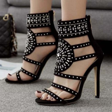 Roman Hollow High Heel Sandals