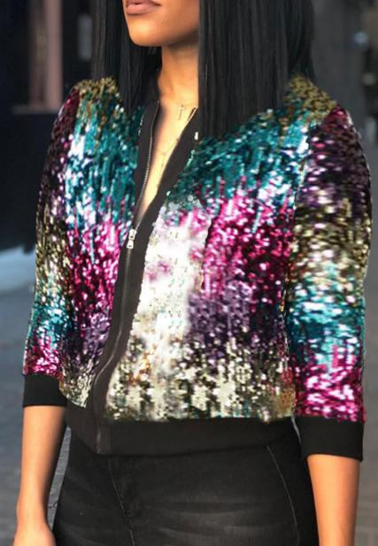 Dazzling Sequined Casual Jacket