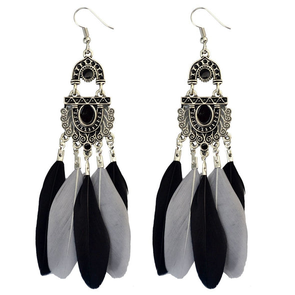 Vintage Color Fringed Feather Hook Earrings