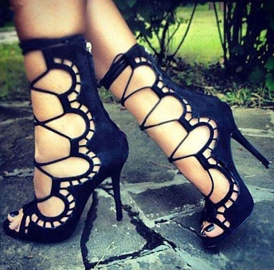 Suede Openwork Lace-Up High Heels