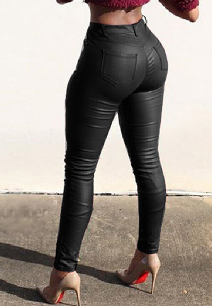 Street folds leather pants tight stretch pants