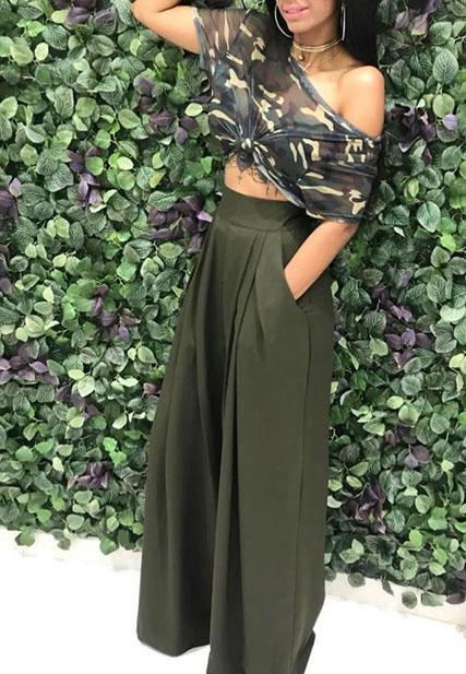 Casual Camouflage Printed Army Green Pants Set