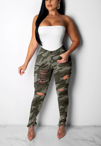 Camouflage Hole Burning Flower High Elastic Fabric Jeans
