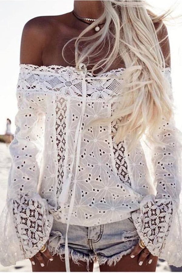 Lace Trumpet Sleeve Off the Shoulder Solid Color Top