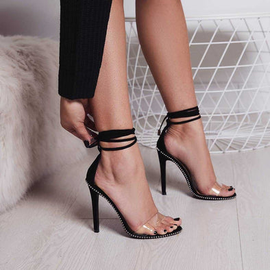 Lace Up Stiletto Super High Heel Sandals