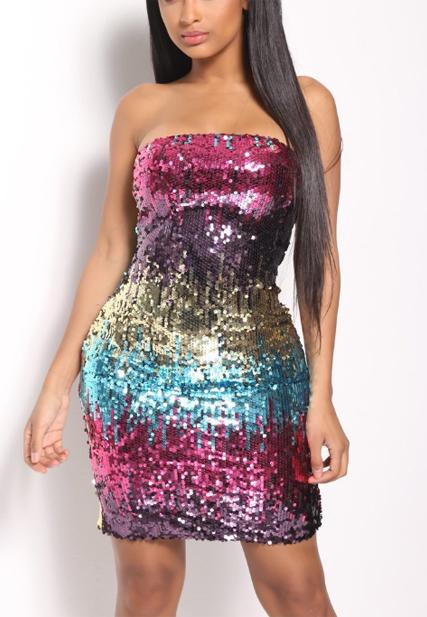 Sequined Off-shoulder Nightclub Dress