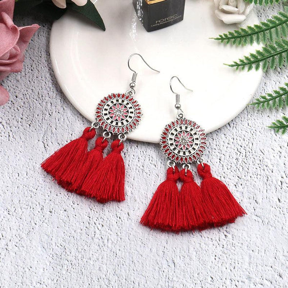 Bohemian Fashion Jewelry Sun Flower Tassel Earrings