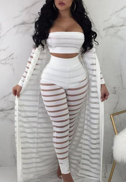 Semi Sheer High Waist Solid Three Piece Sets