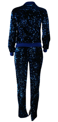 Blue Sequins Long Sleeved Zipper Suit