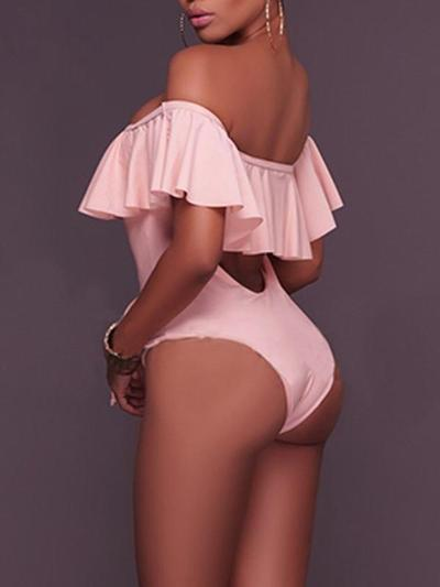 Drawstring Flounce One-piece Swimsuit