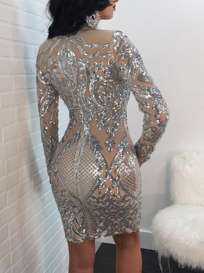 Glittering Sequined Long Sleeve Bodycon Dress