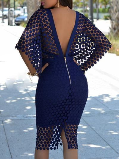 Lace Up Bodycon Cloak Dress