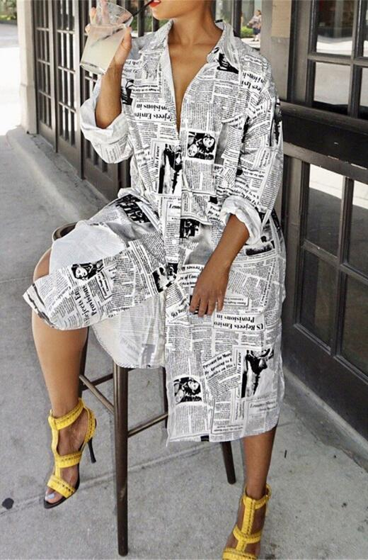 Split Single-Breasted Newspaper Print Shirt Collar Dress