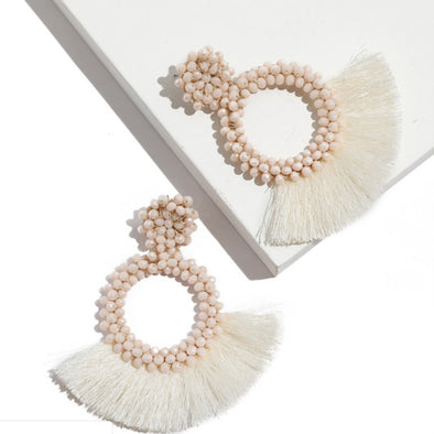Rice Beads Circle Round Tassel Earrings