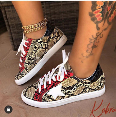 Snake Pu Shoes Flat Sneakers