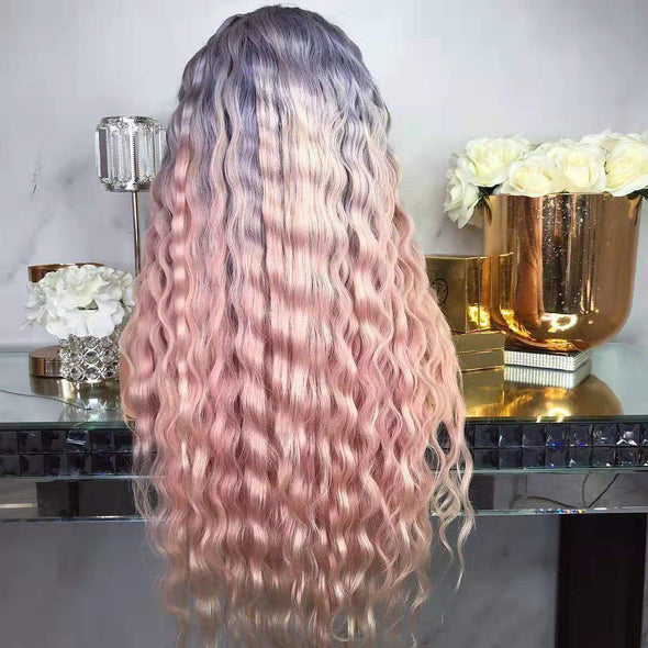 Gradient Blue Pink Corn Hot Long Wig