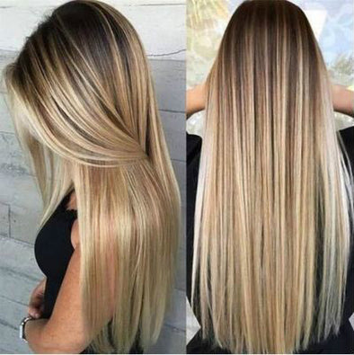 Fashion Gold Mix Long Straight Hair