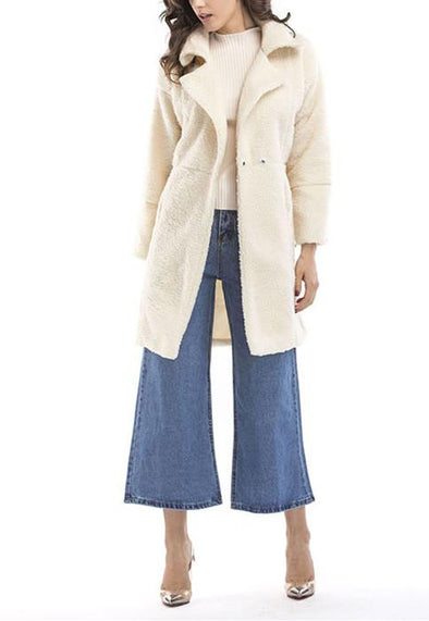 Plush Long Sleeve Mid-Length Coat Jacket