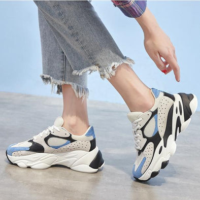 Leather Breathable Casual Shoes Platform Shoes