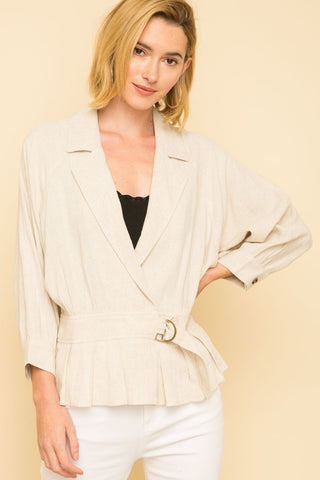 Dolman Sleeve Belt Jacket