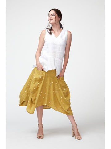 Mustard & White Dot Magic Skirt