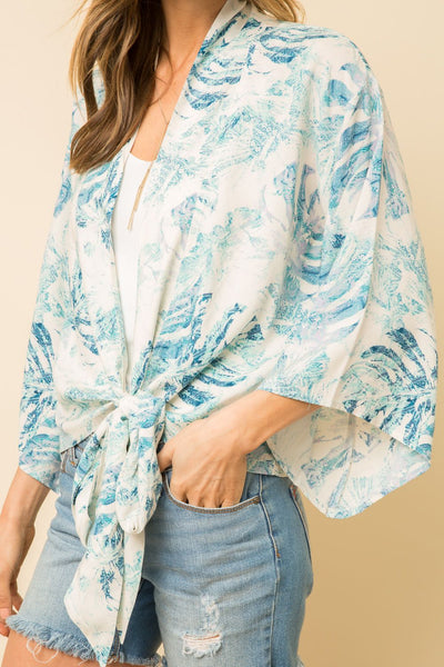 Wide Sleeve Print Blouse