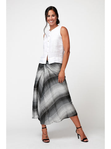 Linen Nylon Faux Wrap Skirt