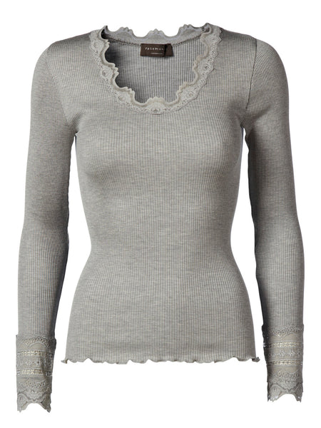 Silk Long-sleeve Top with Lace