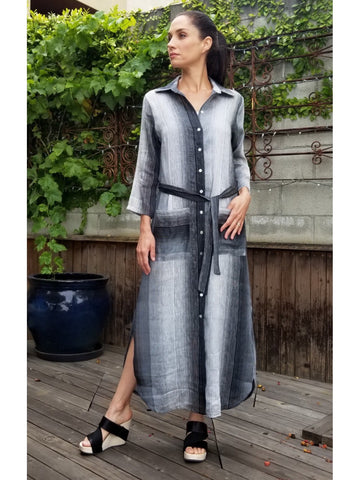 Ombre Stripe Grey Shirt Dress