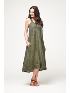 Deco Pine Green Linen Dress
