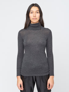 Charcoal Soft Fitted Turtleneck