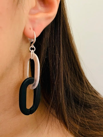 Silver Black Link Earring