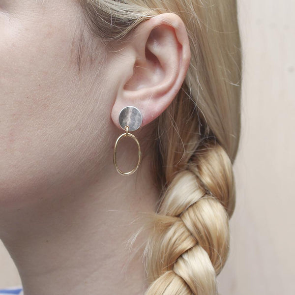 Concave Disc with Oval Ring Post Earring
