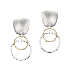 Tapered Square Double Rings Clip Earring