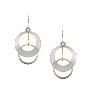 Dished Cutout Disc with Ring Drop Wire Earring