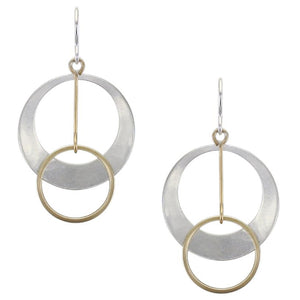 Dished Cutout Disc with Ring Drop Earring