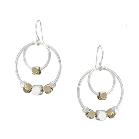 Double Rings with Beads Wire Earring