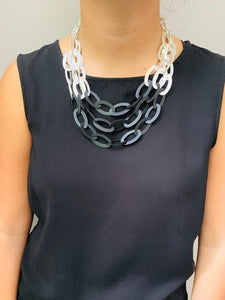 Silver Black Link Necklace
