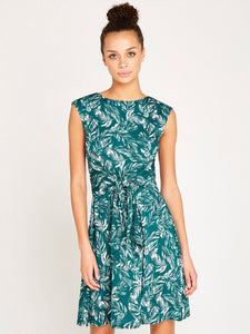Green Feather Print Dress